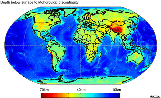 Goce gravity data traces Moho boundary