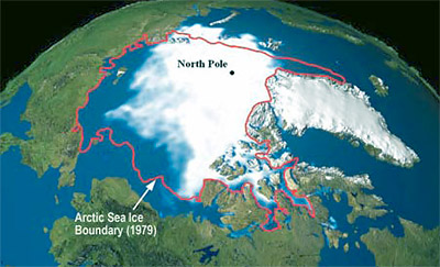 extent of arctic polar ice cap, from 1979 to 2003