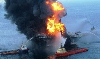 oil rig on fire offshore