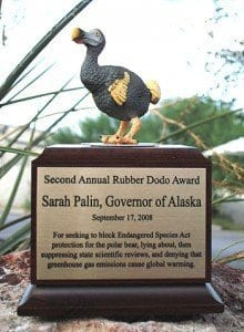 rubber dodo award Palin
