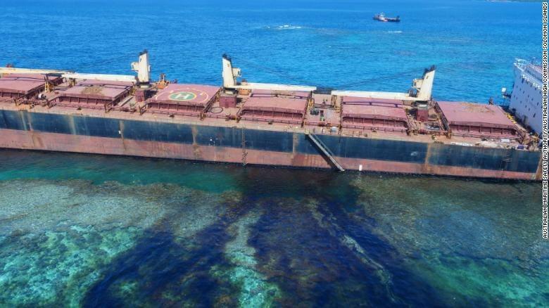 The Solomon Trader ran aground in Kangava Bay at Rennell Island