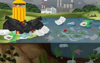 water pollution plastic bags river